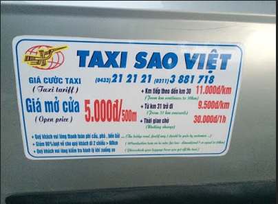 Số điện thoại taxi Hà Nội tổng đài taxi gần đây 5